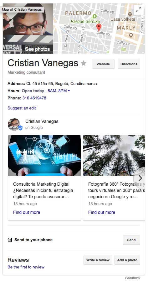 Ejemplo de Google My Business.