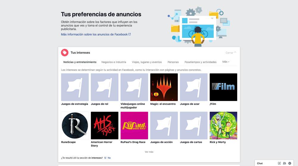 Preferencias de anuncios de Facebook, Intereses