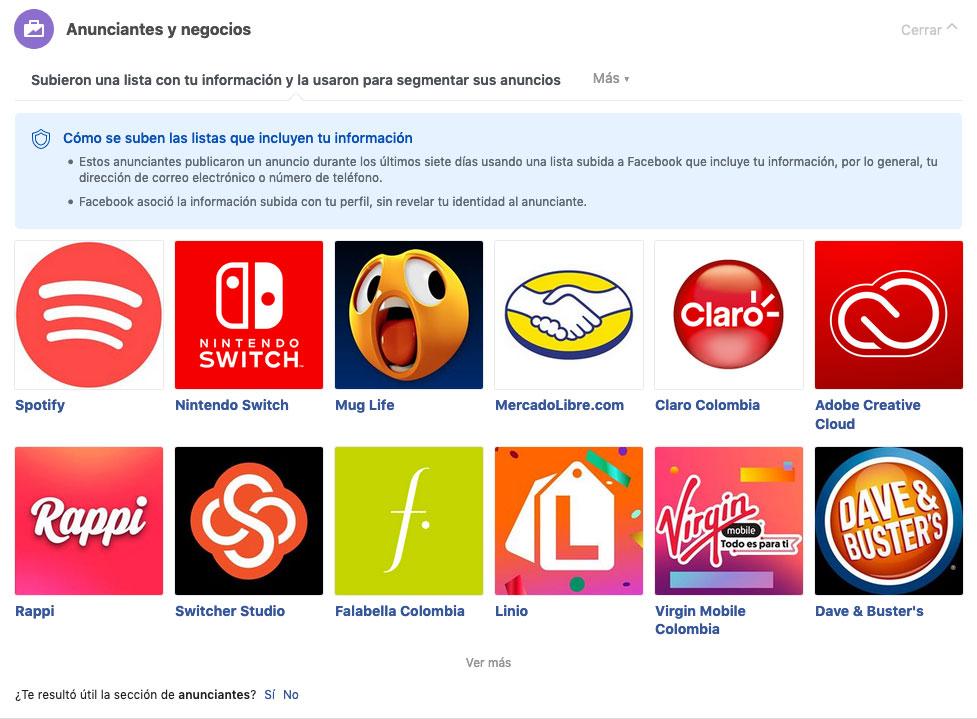 Preferencias de anuncios de Facebook, Anunciantes y Negocios