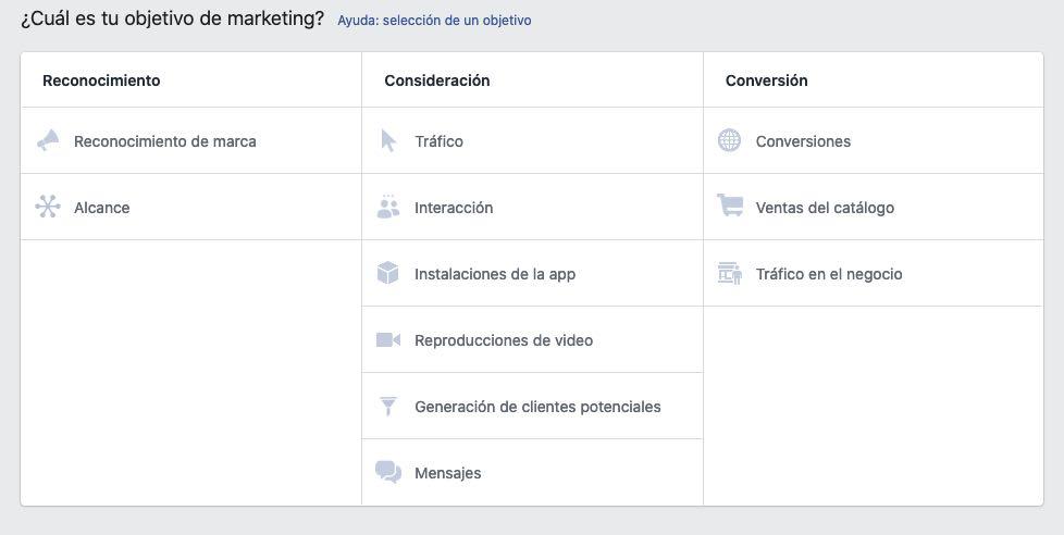 Objetivos publicitarios facebook