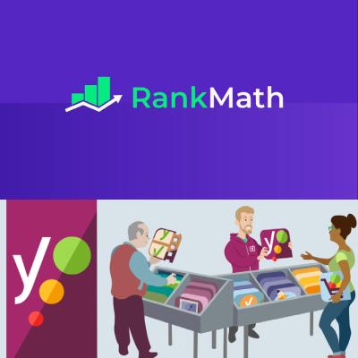 mejores plugins SEO: Logo Yoast! y logo RankMath